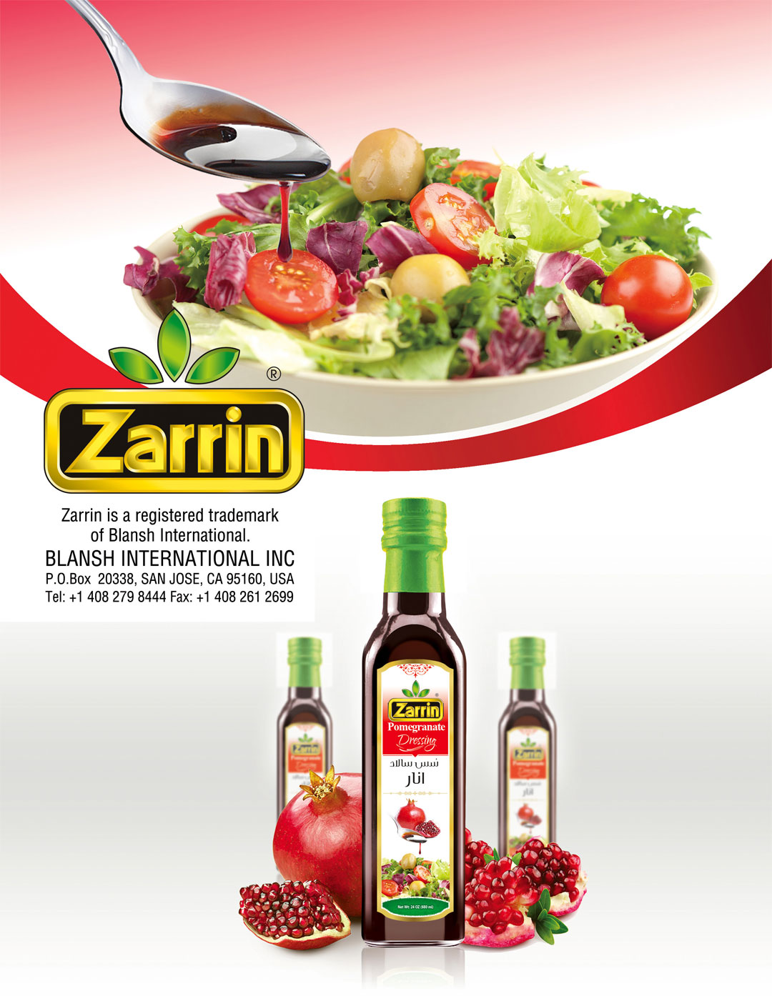 Zarrin is a middle eastern food wholesale with products such as pomegranate molasses.