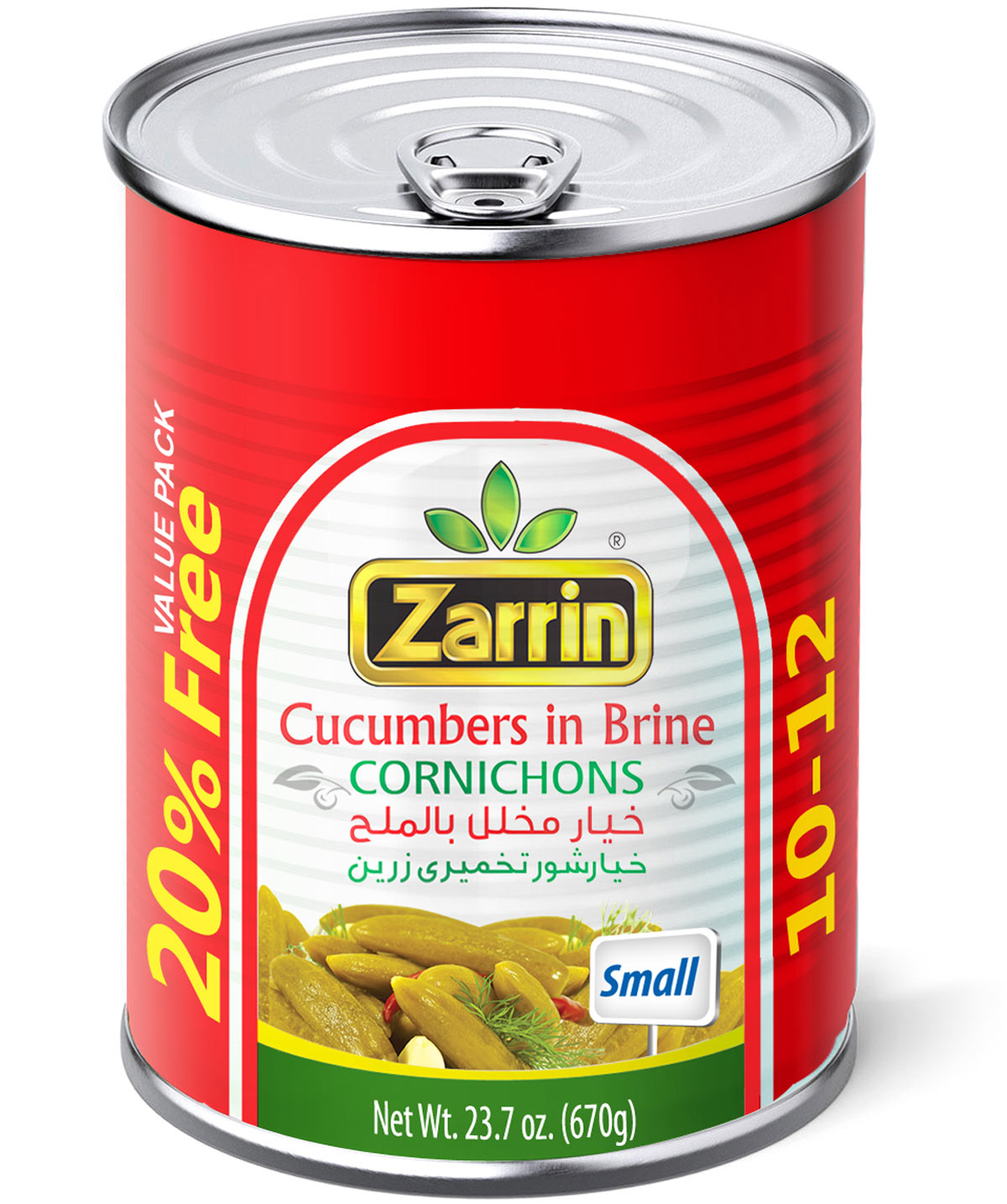 Pickled cucumbers in can, size 10-12 + 20% Free